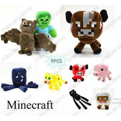 Lote 9 peluches Minecraft