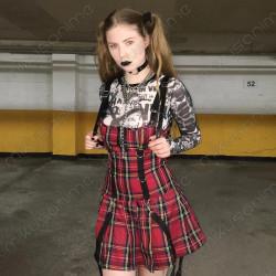 Vestido gótico cuadros punk...